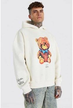 Ecru Oversized Man Collection Teddy Hoodie