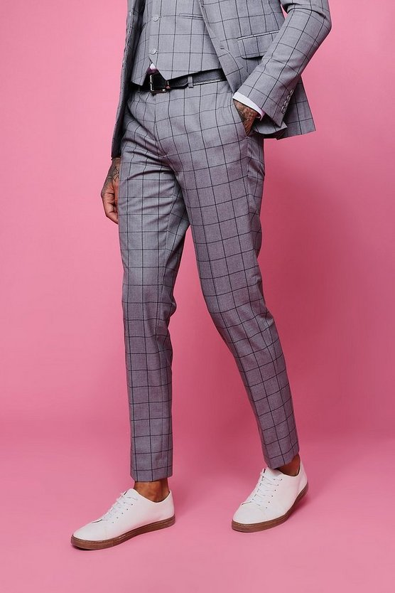 Mens Grey Window Pane Check Skinny Fit Pants