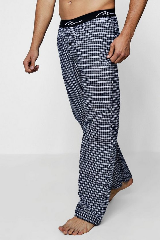 Navy Check Lounge Pants With MAN Waistband