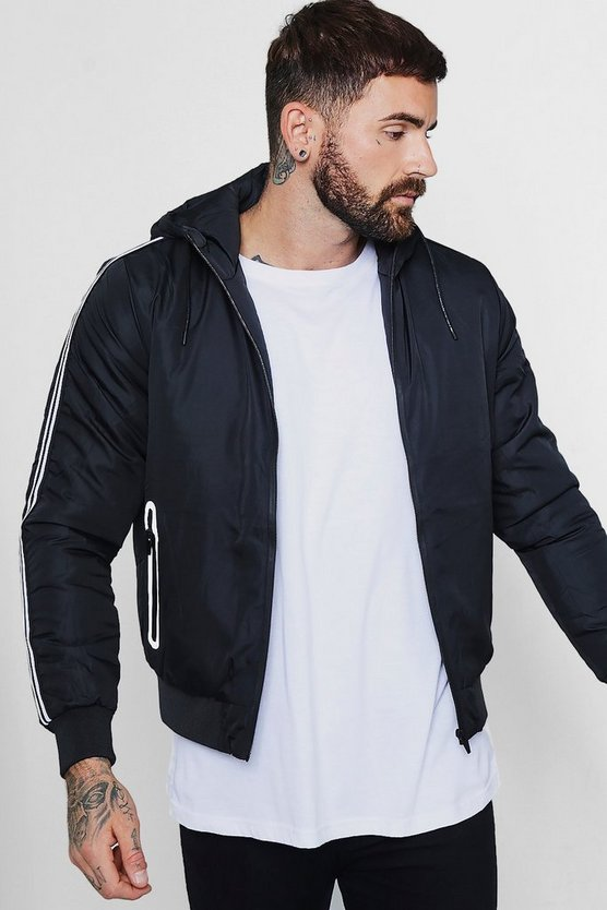Black Sports Stripe Hooded Zip Through Jacket
