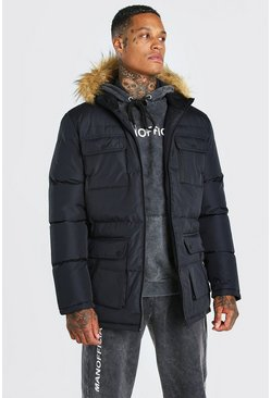 Mens Black Multi Pocket Quilted Parka with Faux Fur Hood
