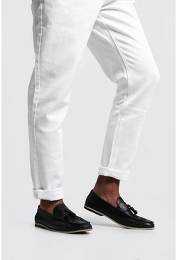 Black Tassel Front PU Woven Loafer
