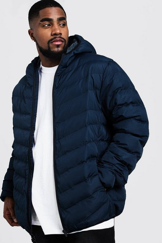Navy Big And Tall Quilted Zip Through Jacket
