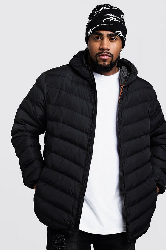 Black Big And Tall Quilted Zip Through Jacket