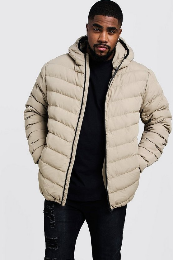 Mens Stone Big And Tall Quilted Zip Through Jacket