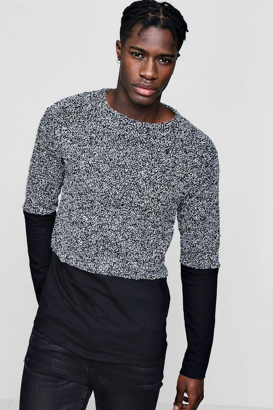 Mens Black Boucle Jumper with Jersey Panel