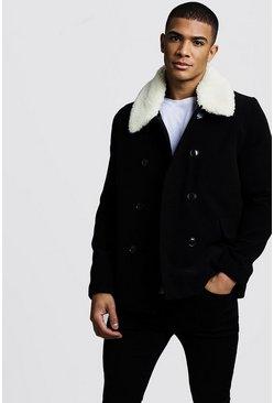 Mens Black Borg Collar Wool Blend Pea Coat