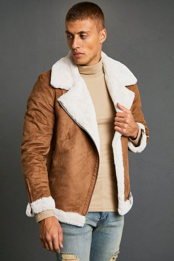Mens Tan Faux Fur Lined Suede Aviator