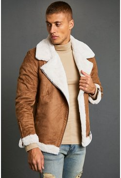 Tan Faux Fur Lined Suede Aviator