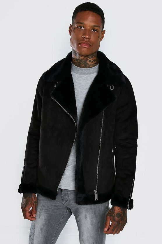 Mens Black Faux Fur Lined Suede Aviator