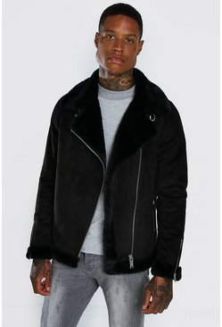 Black Faux Fur Lined Suede Aviator