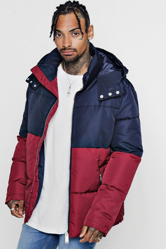 Mens Burgundy Colour Block Puffer With Popper Sides
