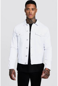 Mens White Regular Fit Denim Western Jacket
