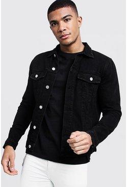 Washed black Regular Fit Denim Western Jacket