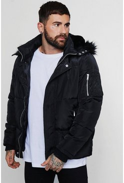 Mens Black Smart Sateen Puffer With Faux Fur Trim Hood