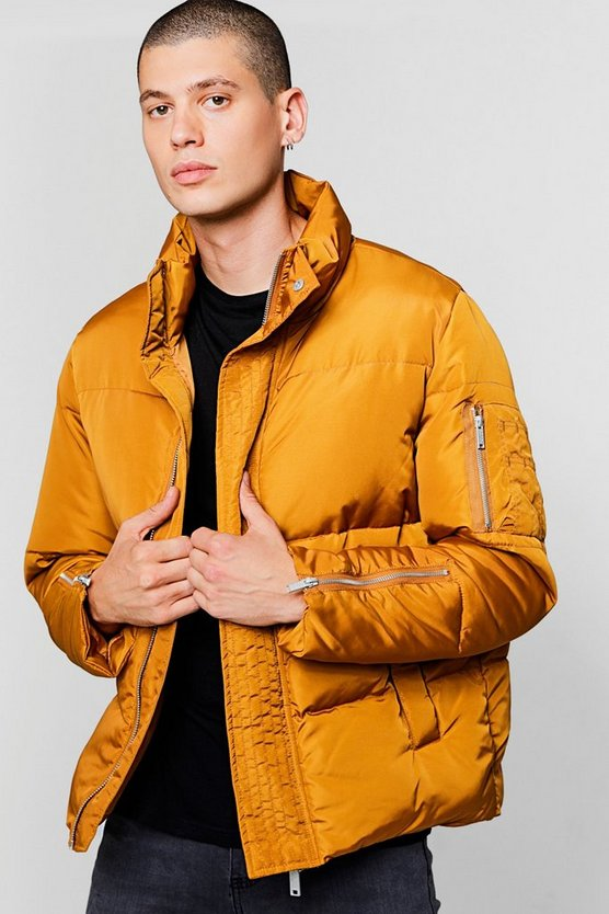 Mustard Funnel Neck Zip Detail Puffer Jacket