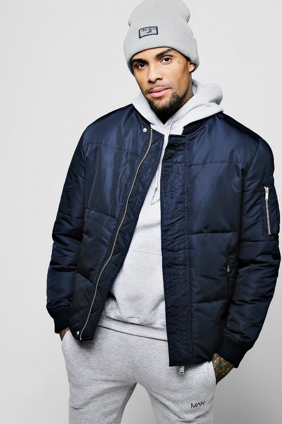 Navy Puffer Jacket With Bomber Neck