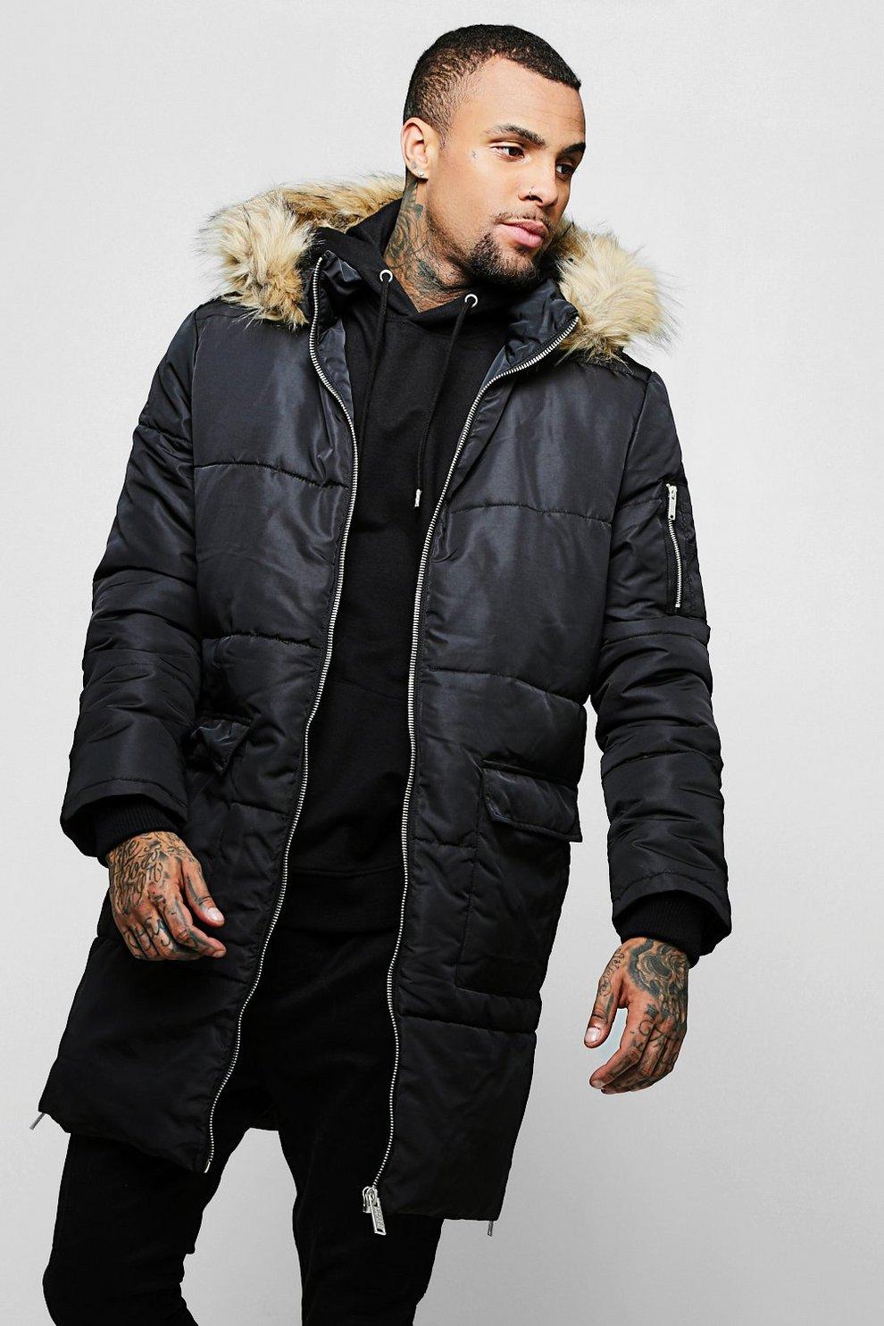 2e0e2dd1f Longline Puffer With Faux Fur Hood Trim