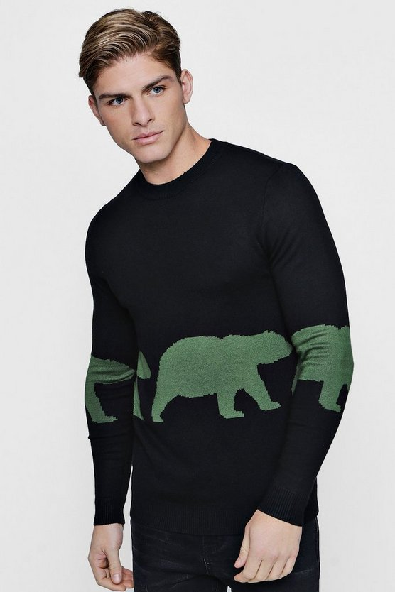 Black Bear Intarsia Knit Jumper
