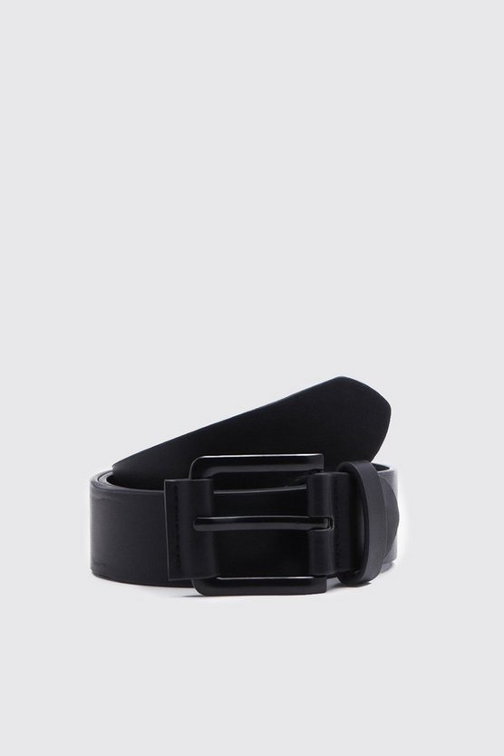Mens Black PU Belt With Matte Black Buckle