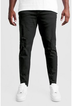Mens Black Big And Tall Skinny Jeans With Raw Hem