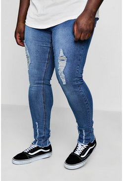 Big And Tall ungesäumte Skinny Jeans, Mittelblau, Herren