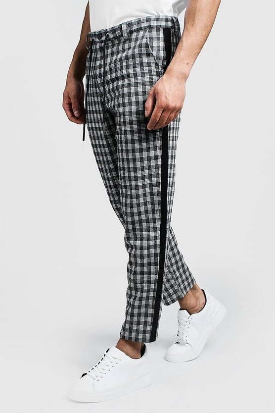 Grey Check Tapered Pants With Side Detail