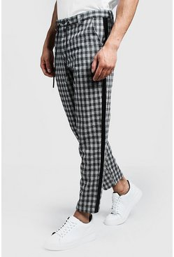 Mens Grey Check Tapered Pants With Side Detail