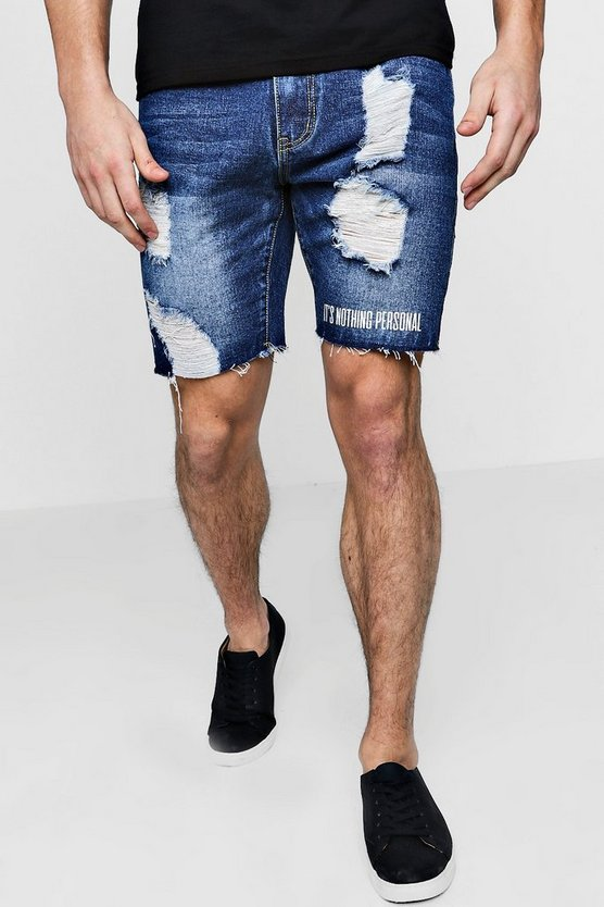Mid blue Slim Fit Distressed Denim Shorts With Print