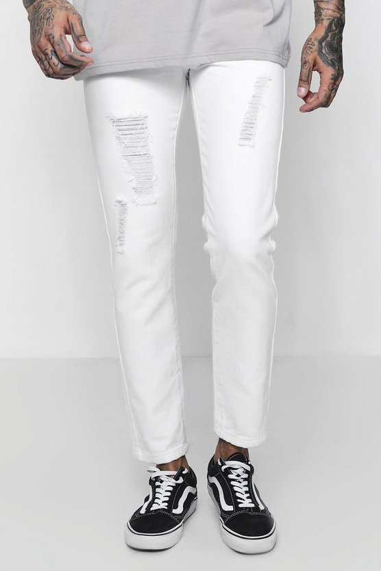 White Skinny Fit Rigid Jeans Light Distressing