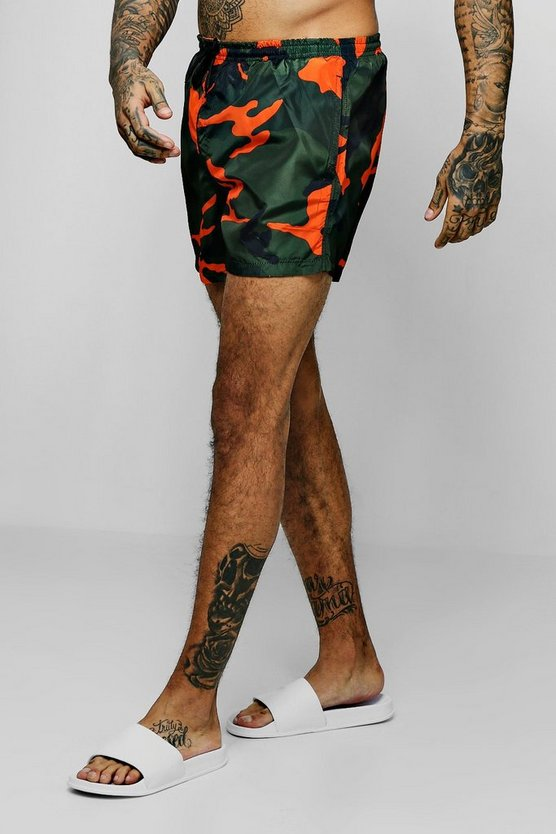 Mens Camo Orange Camo Print Swim Shorts