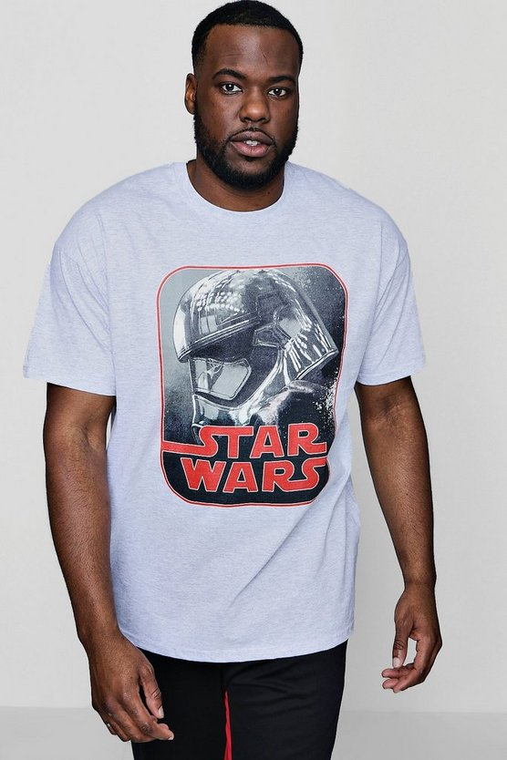 Grey Big And Tall Star Wars Phasma Retro License T-Shirt