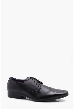 Mens Black Punched Brogue Detail Smart Shoes