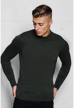 Mens Khaki Fine Knit Turtle Neck Jumper