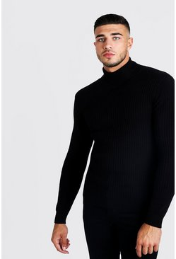 Fine Knit Turtle Neck Jumper, Black, HOMMES