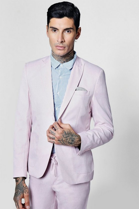 Pink Slim Fit Tailored Suit Jacket