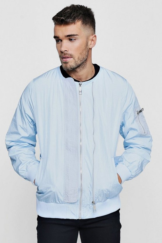 Blue Double Zip Collarless Bomber Jacket