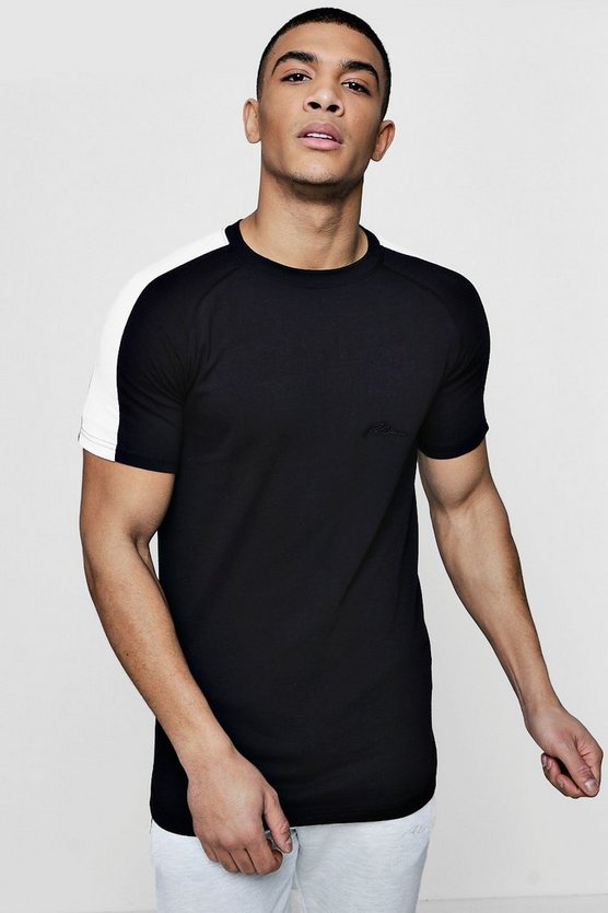 Mens Black Muscle Fit T-Shirt With Contrast Raglan Panel