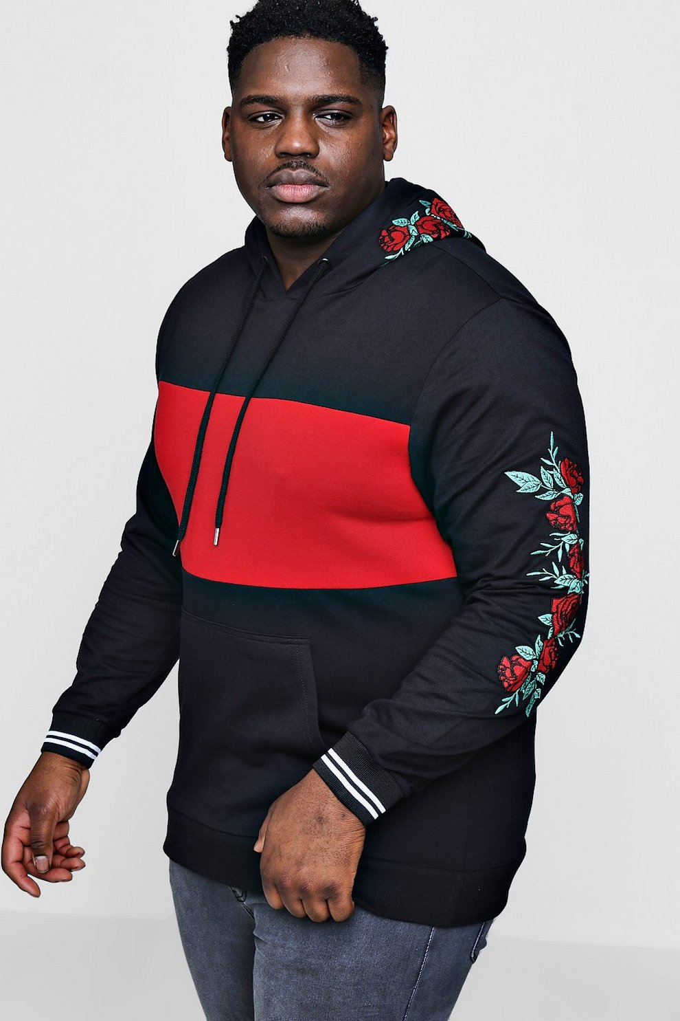 4ef569fb3a57 Big And Tall Colour Block Embroidery Hoodie - boohooMAN