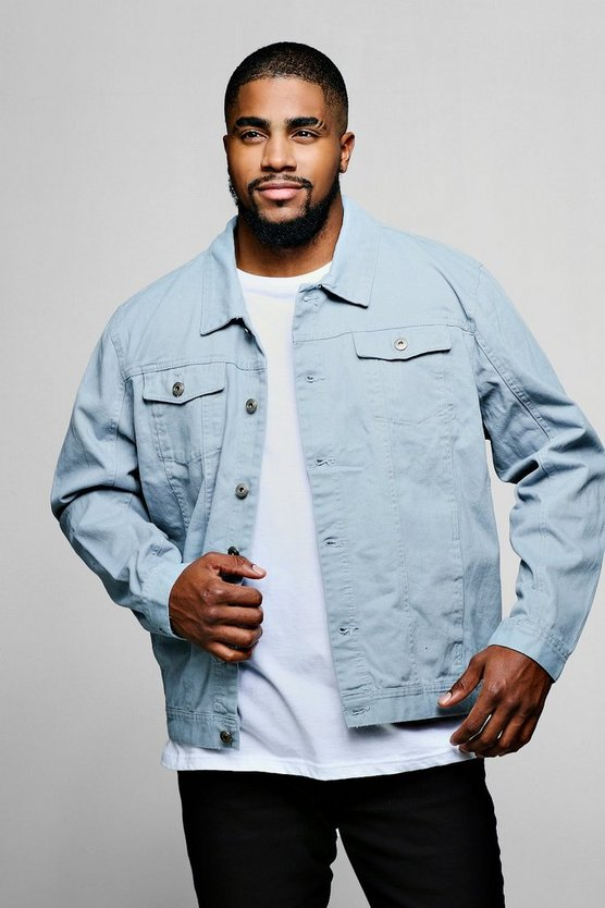Pale blue Big And Tall 4 Pocket Denim Jacket