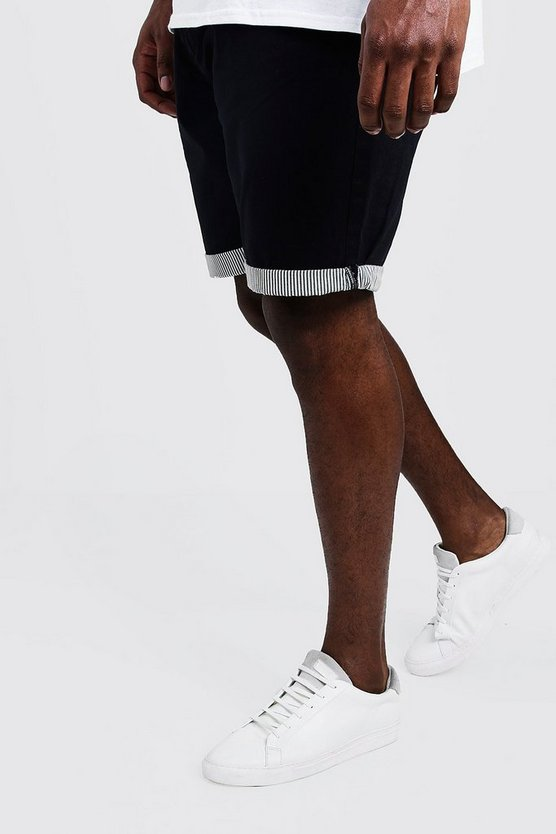 Navy Big And Tall Chino Short With Stripe Turn Up