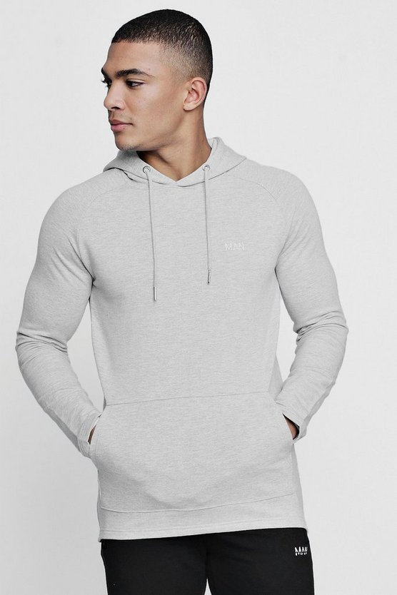 Mens Grey Active Over The Head Embroidered Gym Hoodie