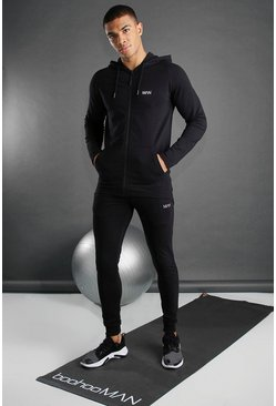 Black Skinny Fit Active Hooded Gym Tracksuit