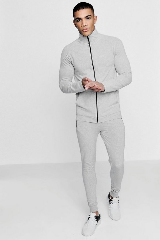 Grey Active Funnel Gym Tracksuit