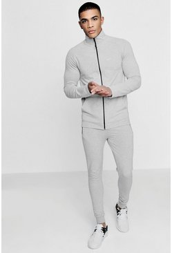 Mens Grey Active Funnel Gym Tracksuit