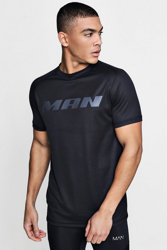 Black Active Short Sleeve Gym T-Shirt