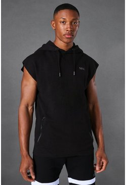 Mens Black Active Sleeveless Gym Hoodie