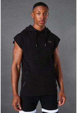 Black Active Sleeveless Gym Hoodie