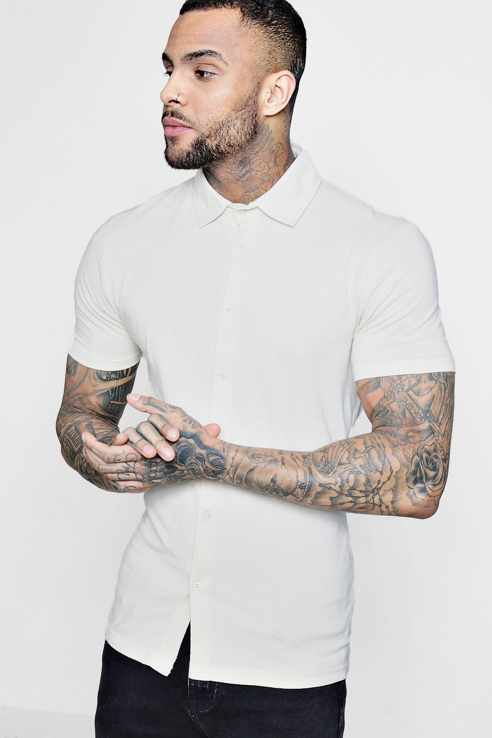 9ca11c175 Mens Stone Muscle Fit Short Sleeve Jersey Shirt. Hover to zoom. Close video