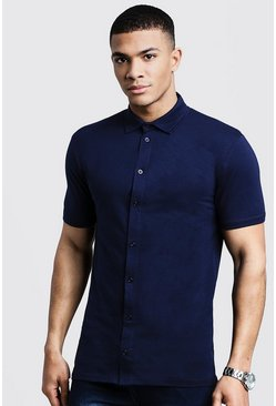 Navy Muscle Fit Short Sleeve Jersey Shirt
